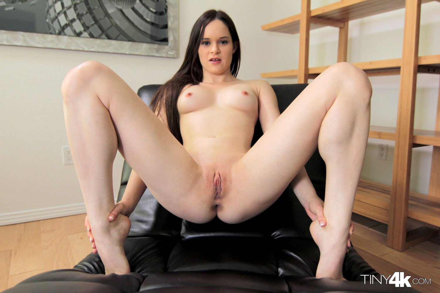 Petite rides stretches pussy with inflatable dildo 1